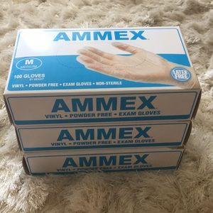 New Ammex Vinyl Exam Gloves - (3) 100 pack, Size M